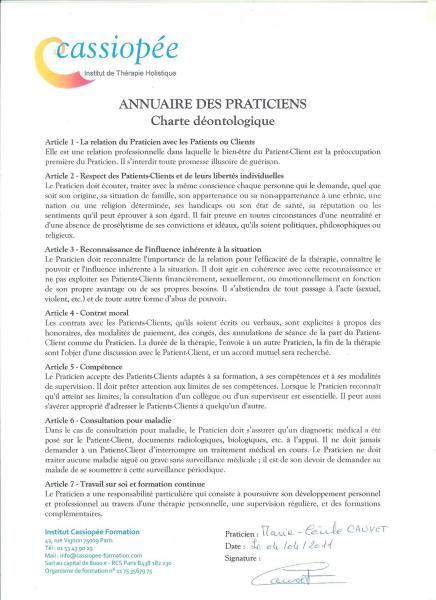 Charte deonthologique
